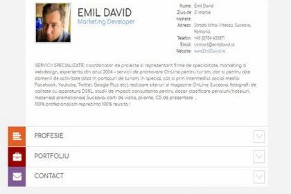Online WEB ro - Model site de prezentare realizat, site prezentare cv curriculum vitae dezvoltator marketing online din județul Suceava