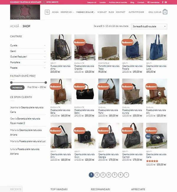 Online WEB ro - Model magazin online realizat, magazin vânzări produse din piele naturală poșete genți portofele Foto 2
