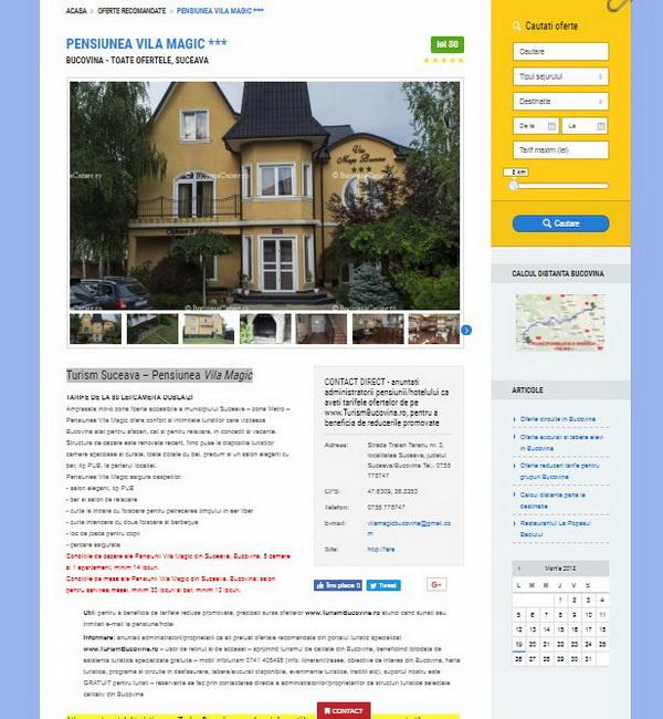 Online WEB ro - Model magazin online realizat, magazin promovare și vânzări servicii turistice oferte Bucovina Foto 2