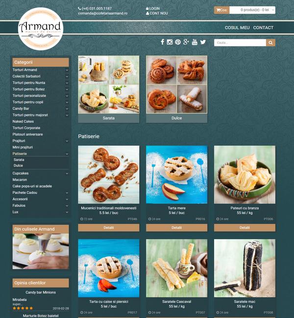 Online WEB ro - Model magazin online realizat, magazin vânzări produse cofetărie patiserie Foto 3