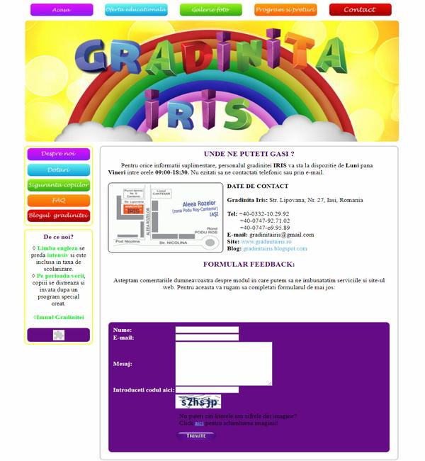 Online WEB ro - Model site prezentare realizat, site prezentare grădiniță particulară educație Foto 4