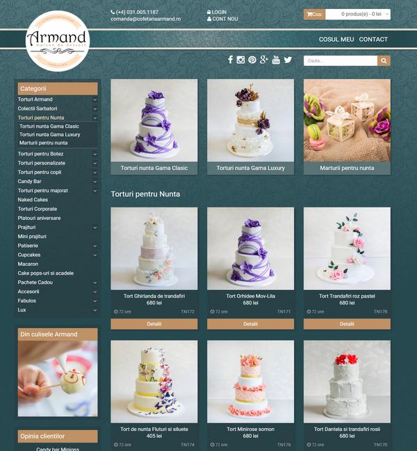 Online WEB ro - Model magazin online realizat, magazin vânzări produse cofetărie patiserie Foto 2