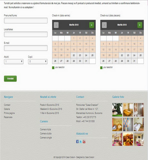 Online WEB ro - Model site prezentare realizat, site prezentare oferte hotel pensiune turistica Bucovina Foto 4